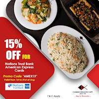 15% OFF for Nations Trust Bank American Express & MasterCard Credit Cards at Chinese Dragon Cafe