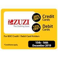 20% OFF for BOC Credit Card Holders & 15% OFF for BOC Debit Card Holders at ZUZI