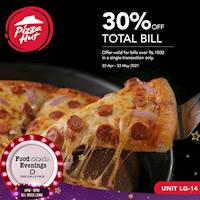 Get 30% OFF on your total bill worth Rs. 1,500 or more at Pizza Hut Sri Lanka with Foodtastic Evenings One Galle Face