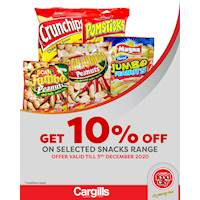 Get 10% off on selected Snacks at Cargills FoodCity!