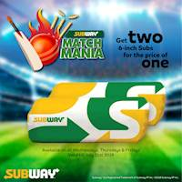 Get Two 6-inch Subs for the price of one at Subway Sri Lanka