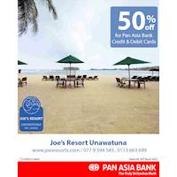 50% off at Joe's Resort Unawatuna for Pan Asia Bank Credit and Debit Cards