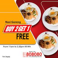 Buy 2 Get 1 Free at Chinese Chinese Dragon Cafe!!