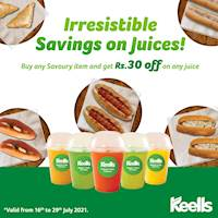 Enjoy Rs.30 off on any fresh juice when you buy a savoury item from our bakery at Keells