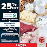 Get 25% OFF for Standard Chartered Bank Credit Cardholders on Fresh Meat & Dairy Items at selected Cargills FoodCity Outlets!
