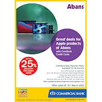 Great deals for Apple products at Abans with ComBank Credit Cards