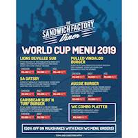 The World Cup Menu at The Sandwich Factory