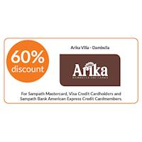 60% discount on double and triple room bookings on full board, half board stays at Arika Villa, Dambulla for Sampath Bank Cards