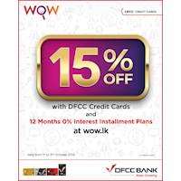 15% savings on selected products at WOW.lk with DFCC Cards