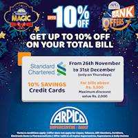 Get up to 10% Off on your Total bill on Thursdays at Arpico Supercentre with your Standard Chartered Credit Cards