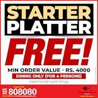 STARTER Platter FREE for Dining orders at Chinese Dragon Cafe!