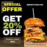 Get 20 % OFF on all Burgers at Royal Burger