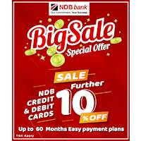 BIG SALE Special Offer 10% off NDB Credit & Debit Card