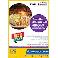 Enjoy the delicious food at taco bell with Commercial Visa Credit and Debit Cards