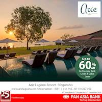 Up to 60% off at Arie Lagoon -Negombo for Pan Asia Bank Credit and Debit Cards.