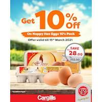 Get 10% off on Happy Hen Eggs at Cargills FoodCity!