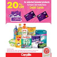 Get 20% Off on selected branded items when you pay using your People's Bank Vanitha Vasana Debit Card at Cargills FoodCity!