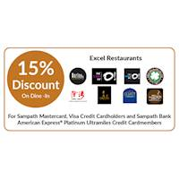 15% discount on Dine-In at selected Excel Restaurants for Sampath bank cards