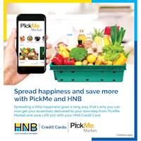 Save LKR 500 when you get your essentials delivered to your doorstep with PickMe Market using your HNB Credit Card