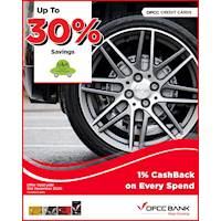 Save up to 30% on selected Tyres & Batteries at U & H Wheels with DFCC Credit Card!
