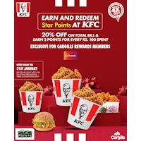 Earn and redeem star points at KFC with 20% off on total bill and earn 2 points for every Rs. 100 spent