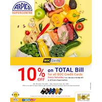10% OFF on Total Bill at Arpico SuperCentre for All BOC Credit Cards