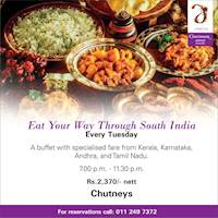 Experience the flavours of South India every Tuesday at Chutneys!