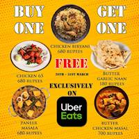 Get another portion absolutely FREE when you purchase any of these selected dishes on Uber Eats from Madras Masala