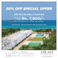 50% off special offer for Anilana Nilaveli & Anilana Pasikuda