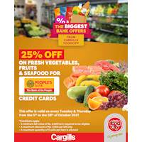 Get 25% OFF on fresh vegetables, fruits and seafood for People's Bank credit card at Cargills Food City