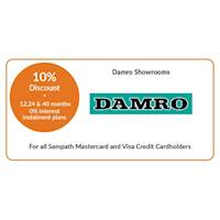 Get 10% discount on selected products at Damro for all Sampath Mastercard & Visa Credit Cardholders