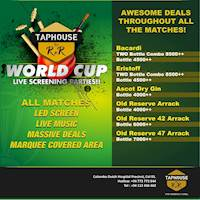 Awesome deals throughout all the Cricket World Cup Matches at Taphouse by RnR