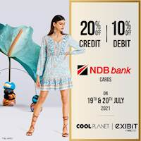 Enjoy 20% Off On NDB credit and 10% Off On Debit Card at any Cool Planet store Exibit ( One Galle face) or www.coolplanet.lk