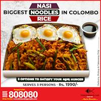 Biggest Nasi/Rice/Noodles in Colombo at Chinese Dragon Café just for Rs. 1990 (serves 3)