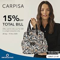 15% Off on Total Bill at Carpisa One Galle Face Mall