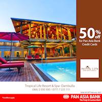50% off at Tropical Life Resort and Spa - Dambulla for Pan Asia Bank credit Cards