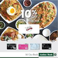 Enjoy 10% off at Malay Restaurant with your Amana Bank Debit Card.