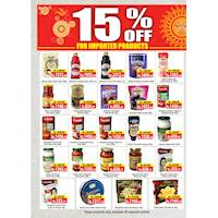 15% off at imported products at Cargills Food City