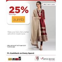 Enjoy 25% savings at Aurelia with DFCC Credit Cards!