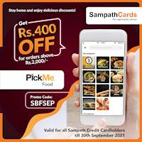 Get Rs.400/- OFF at PickMe Food for orders above Rs.2000/- for all Sampath Credit Cardholders