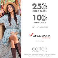 Get 25% off with DFCC Credit Cards and 10% off with Debit Cards at Cotton Collection