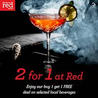 Enjoy buy 1 get 1 FREE deal on selected local beverages at Cinnamon Red