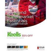 Save 30% on Fresh Meat Every weekend at Keells for bills over Rs. 3,000 with your Seylan Credit Card