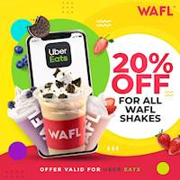 Enjoy 20% off for our all WAFL Shakes on Uber Eats