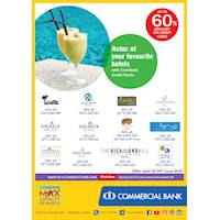 Relax at your favourite hotels with ComBank Credit Cards.