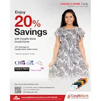 Enjoy up to 20% savings on clothing with Cargills Bank Cards