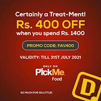 Get Rs.400 OFF when you spend Rs.1400 via PickMe Food at Dinemore