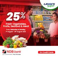 Get 25% Off on Fresh Vegetables, fruits, Seafood and Meat at LAUGFS Super for NDB Credit Cards