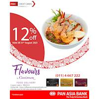 12% off at Cinnamon Grand Colombo & Cinnamon Lakeside Colombo's food delivery platform - Flavours by Cinnamon for Pan Asia Bank Credit Cards