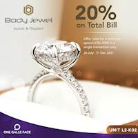 Get 20% off your total bills over Rs. 1,000 when you shop for your jewellery at BODY JEWEL Exclusively for One Galle Face Member